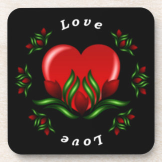 Rose Design With Words Saying Love In White Text Beverage Coasters
