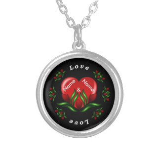 Rose Design With Words Saying Love In White Text Round Pendant Necklace