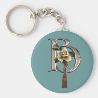 Rose Elegance Monogram B Basic Round Button Key Ring