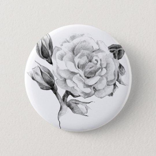Rose. Elegant floral stylish rustic vintage image 6 Cm Round Badge