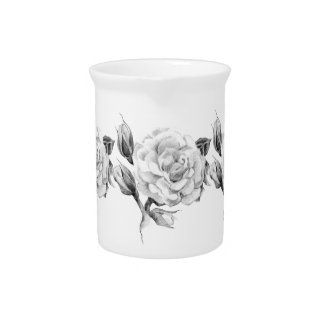 Rose. Elegant floral stylish rustic vintage image Pitcher