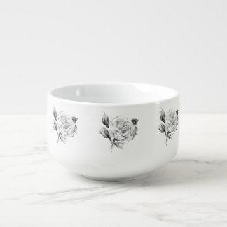 Rose. Elegant floral stylish rustic vintage image Soup Mug