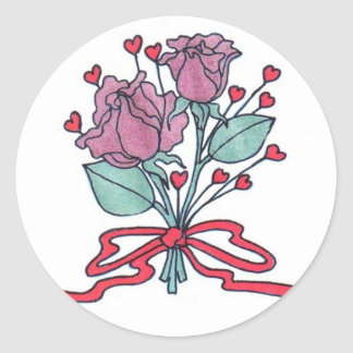 Rose Envelope Seals Round Sticker