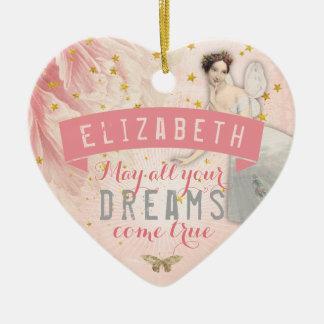 Rose Fairy Ballet | Dreams Ceramic Heart Decoration