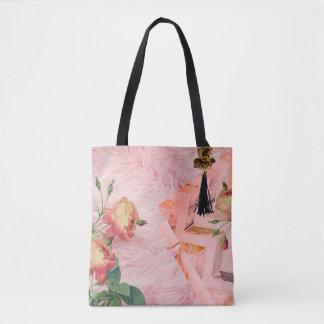 Rose Faux-Fur & Cherub Statement Carryall Tote Bag