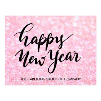 Rose Faux Glitter Happy New Year Script Corporate Postcard