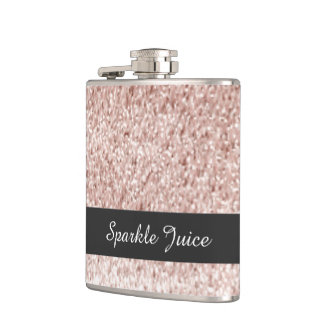 Rose Faux Glitter Sparkle Juice Hip Flask