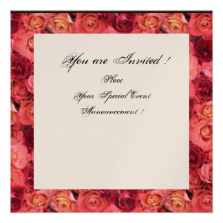 ROSE FIELD MONOGRAM Pink Red Black White Champagne Custom Invites