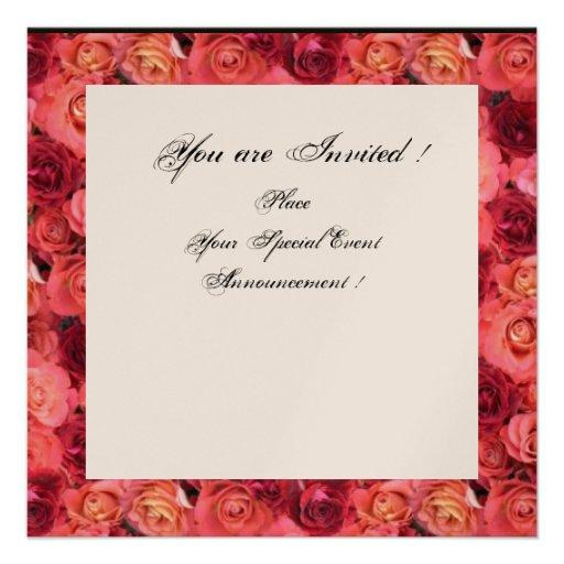 ROSE FIELD MONOGRAM,Pink,Red Black White Champagne Custom Invites
