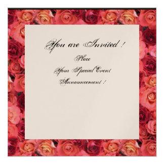 ROSE FIELD MONOGRAM Pink Red Black White Champagne Custom Invites