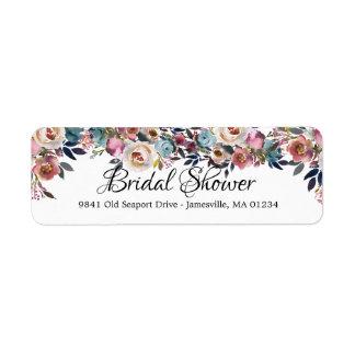 Rose Floral Bridal Shower Return Address Labels