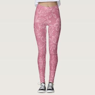 Rose Floral Fabric Texture Leggings