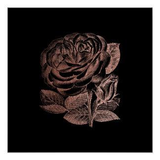 Rose Floral Metallic Pink Gold Black Glam Minimal Poster