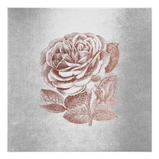Rose Floral Metallic Pink Gold Silver Gray Minimal Poster