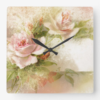 Rose floral pattern girly girls square wall clock