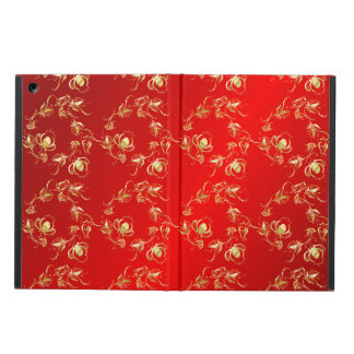 Rose floral pattern on  red  background iPad air case