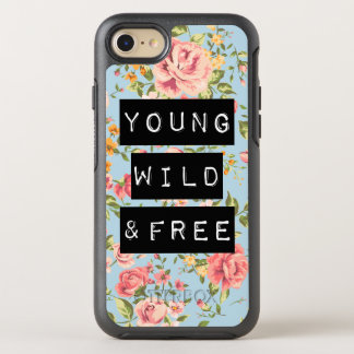 Rose Floral Young Wild and Free Life Quote OtterBox Symmetry iPhone 7 Case