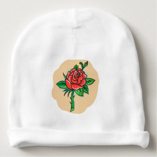 Rose Flower Bud Leaves Thorn Tattoo Baby Beanie