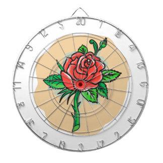 Rose Flower Bud Leaves Thorn Tattoo Dartboard