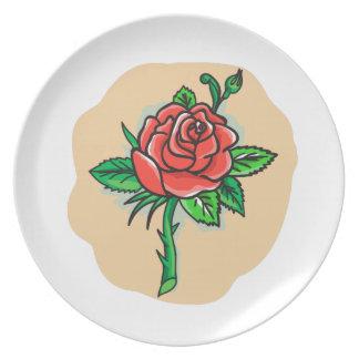 Rose Flower Bud Leaves Thorn Tattoo Plate