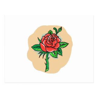 Rose Flower Bud Leaves Thorn Tattoo Postcard