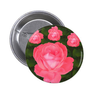 Rose Flower Bunch  TEMPLATE DIY add TEXT GREETING 6 Cm Round Badge