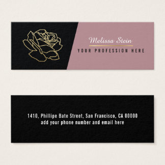 rose flower, elegant floral feminine professional mini business card