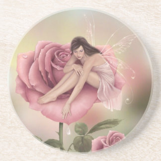 Rose Flower Fairy Sandstone Drink Coaster