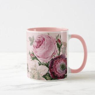 Rose Flower Floral Pink Vintage Garden Ringer Mug