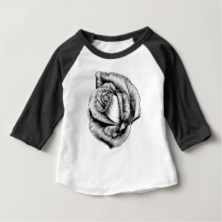 Rose Flower in Engraved Etching Woodcut Style Baby T-Shirt