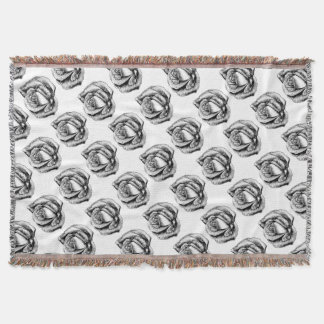 Rose Flower in Engraved Etching Woodcut Style Throw Blanket