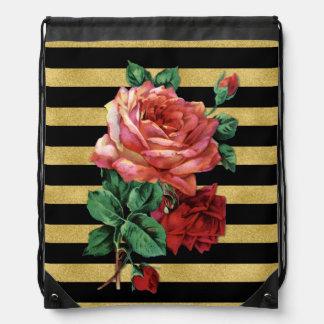 Rose Flower & Stripes Gold Black BackPack