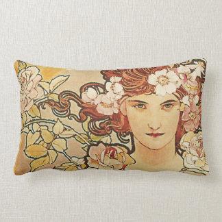 Rose Flowers Art Nouveau Alphonse Mucha Lumbar Cushion