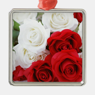 rose flowers flower white red love Silver-Colored square ornament