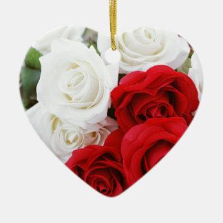 rose flowers flower white red love ceramic heart ornament