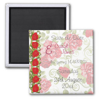 Rose Flowers Save the Date Square Magnet