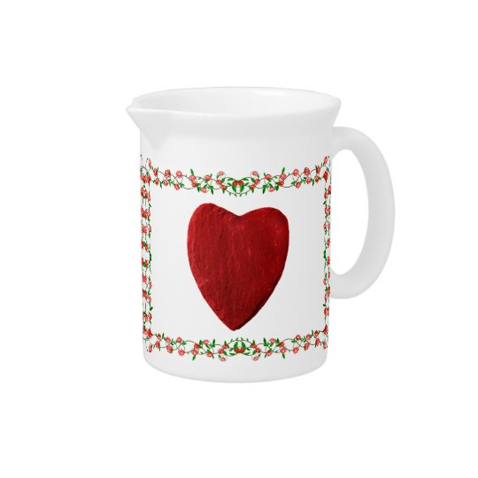 Rose framework with heart pitcher
