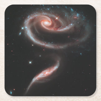 Rose Galaxy Square Paper Coaster
