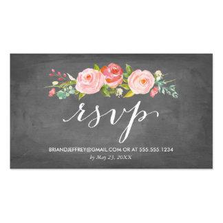 Rose Garden Floral Chalkboard Wedding Email RSVP Pack Of Standard Business Cards