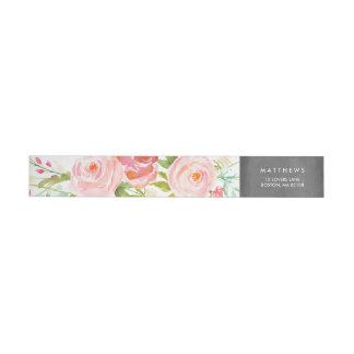Rose Garden Floral Chalkboard Wraparound Return Address Label