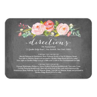 Rose Garden Floral Directions Wedding Card