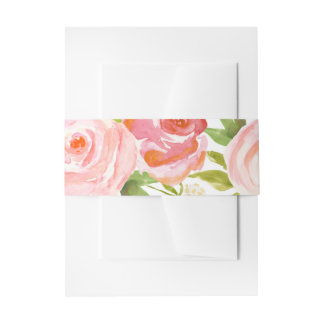 Rose Garden Floral Wedding Belly Band Invitation Belly Band