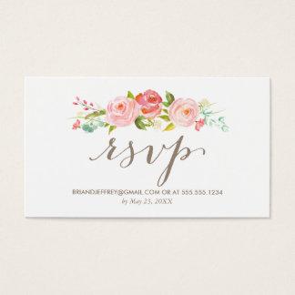 Rose Garden Floral Wedding Email RSVP Business Card