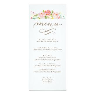 Rose Garden Floral Wedding Menu 10 Cm X 24 Cm Invitation Card