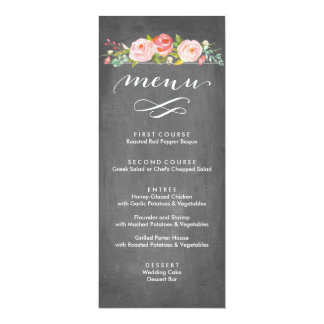 Rose Garden Floral Wedding Menu Card
