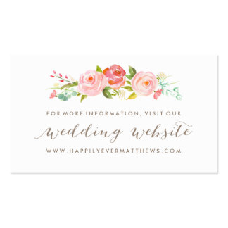 Rose Garden Floral Wedding Website Double-Sided Pack Of Standard Business Cards