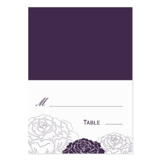 Rose Garden Folded Wedding Place Card - Purple Business Card Template