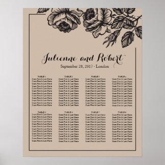Rose Garden   Rustic Wedding Seating Chart Poster