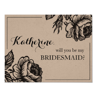 "Rose Garden | Rustic ""will you be my bridesmaid"" Card"