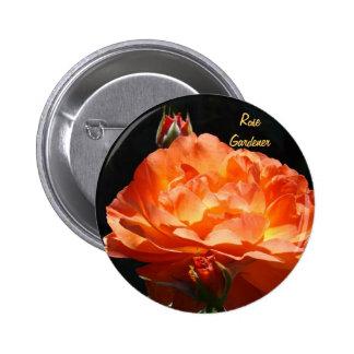 Rose Gardener buttons Custom Orange Roses